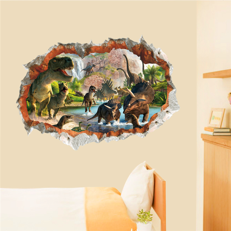 3D էֆեկտ դինոզավրային աշխարհը պատի - Տնային դեկոր - Լուսանկար 5
