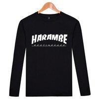 HARAMBE symbol Mody Z Długim Rękawem T Koszula Mężczyzna Schudnięcia Napadu clothing koszulki z mężczyźni tshirt luksusowej marki t-shirt dla mężczyzn HA