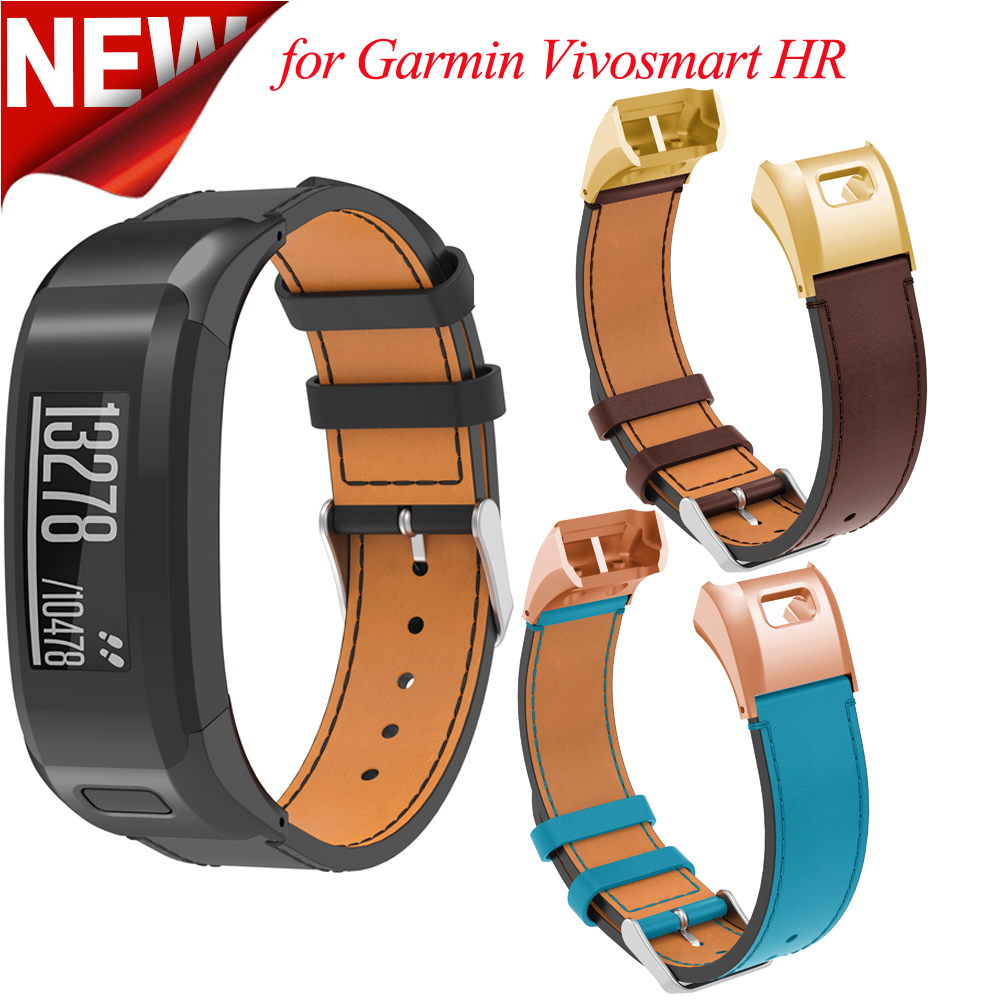 Genuine Leather Band for Garmin Vivosmart HR Strap Replacement Watchband With Tool for Garmin Vivosmart HR Leather Bracelet genuine leather watchband 20mm black brown replacement leather wristband for garmin vivomove apac strap