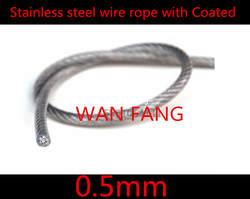 100 м диаметр 0.5 мм нержавеющей стальной трос с пвх с пластиковым покрытием прозрачный ( 0.4 мм трос с 0.1 мм покрытие )