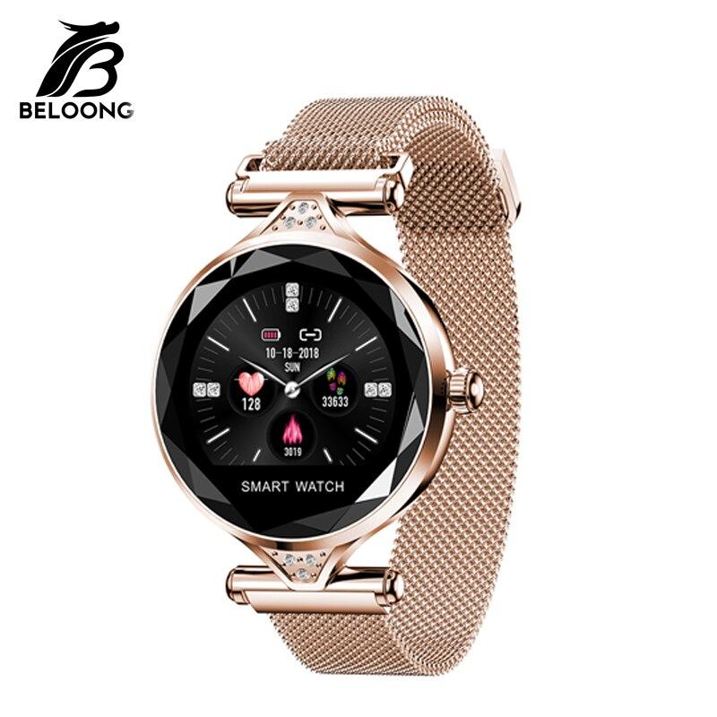 BELOONG H1 femmes mode Smartwatch bracelet IP67 étanche fréquence cardiaque pression artérielle en acier inoxydable bracelet Fitness