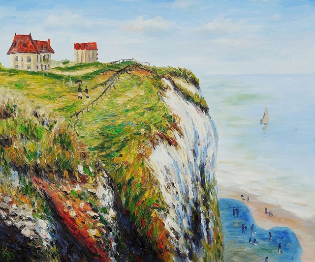 Original Quality Beautiful Landscape Painting Cliff at Dieppe by Claude Monet Canvas Art Wall Painting Handmade Living Room Art
