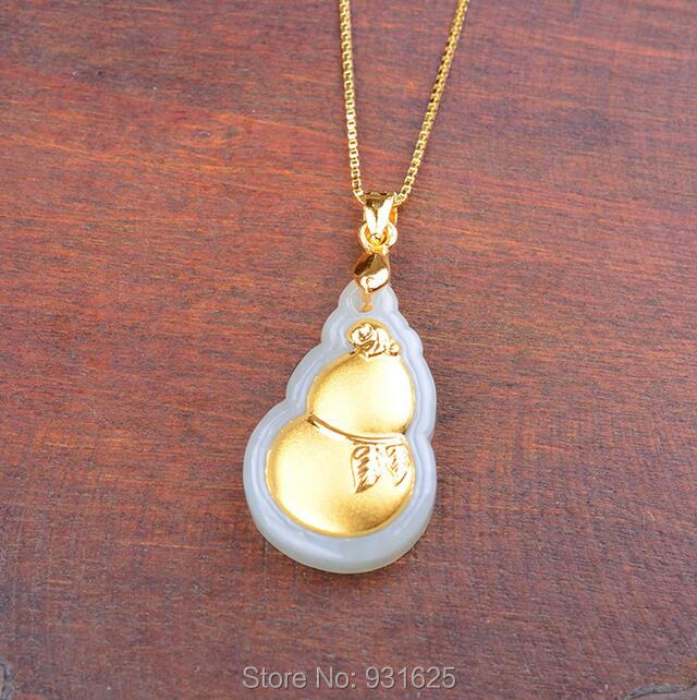 Pretty 22x14mm Natural HeTian Yu 100% Pure Solid 18 Gold Cucurbit Lucky Pendant Necklace + Certificate Fine Jewelry