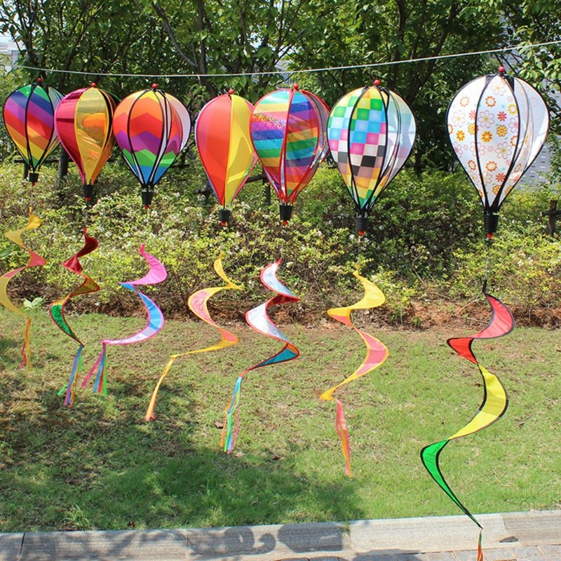 New Hot Air Balloon Toy Windmill Spinner Garden Lawn Yard Ornament Outdoor Party Favor Supplies