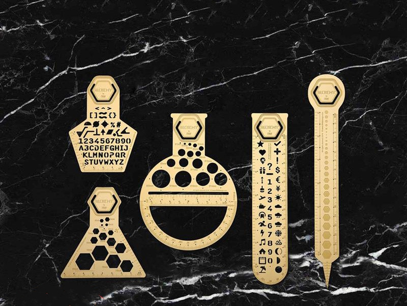 Design Of Multifunctional Handbook Drawing Ruler Creative Brass Template Ruler Hollow Out Ancient Digital Letters