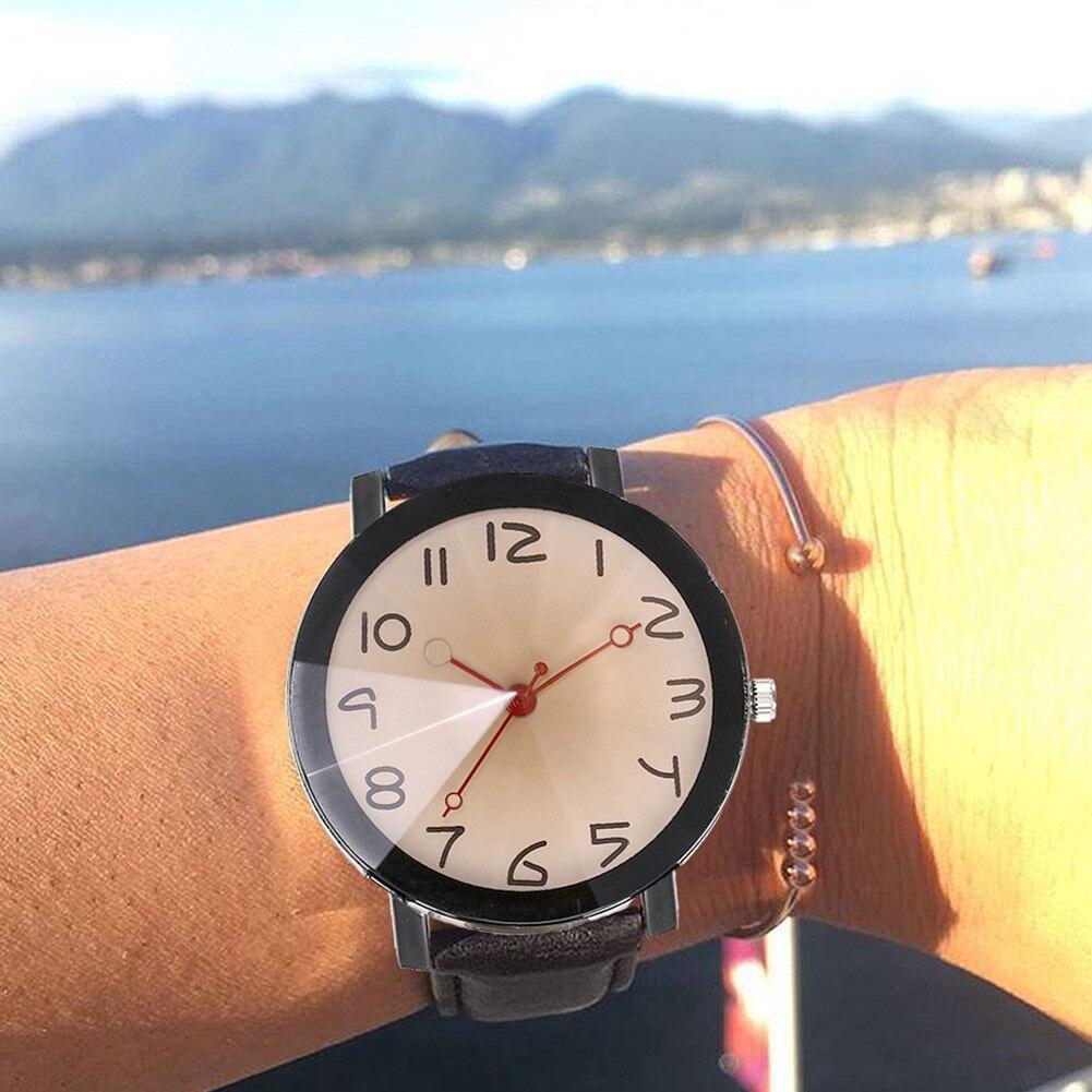 Women Men Elegant Quartz Wrist Watch With Ultra-thin PU Leather Strap Number Dial Casual Watch LXH