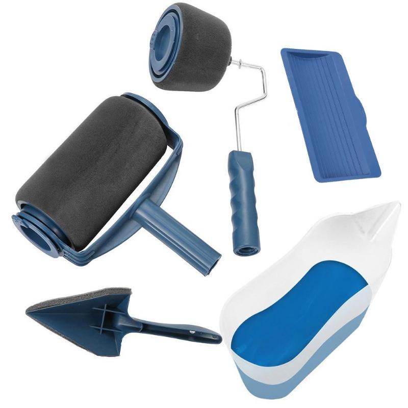 5Pcs Paint Runner Pro Roller Brush Set Paint Roller Brush For Room Office Wall Painting Tools Blue White