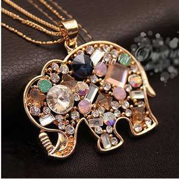 2piece / lot, women's New Cute Elephants Crystal Necklace Sweater chain Necklaces Fashion jewelry free shipping for girl gift