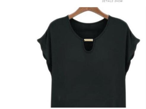 Women Solid Black Casual T-Shirts Hollow Out O-neck Slim Basic Tees Female Soft Elegant Tops Lady Hem angled Chiffon T-shirt