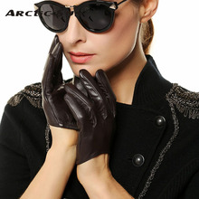 Women Genuine Leather Gloves Ms. Short Paragraph Fashion Half Palm Gloves Lambskin Leather Gloves Tide Performances L098N