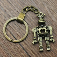 New Vintage Keychain Antique Bronze Color 45x25mm 3D Hollow Robot Pendant Key Chain Ring Holder Dropshipping