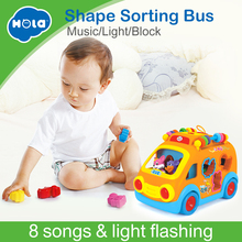 Купить с кэшбэком Free Shipping Huile Toys 988 happy bus child puzzle electric toy car band music blocks baby toys