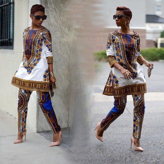Dashiki Africa Women Pants Suit Set National Style Totem -5607