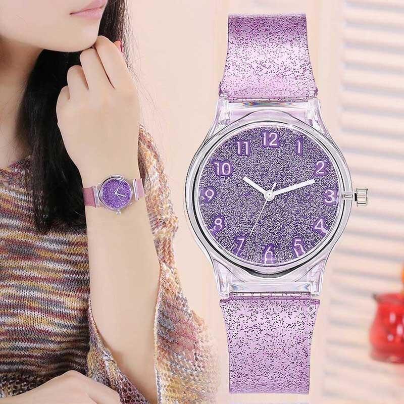 Luxfacigoo Women Shiny Quartz Watch Silicone Strap Glitter Round Dial Girl Casua