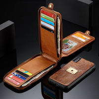 Original Case For Apple iPhone X Luxury Vintage Leather Zipper Multi Card Slots Magnet Flip Wallet Case Cover For iPhone X Bags