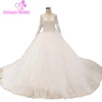 Robe De Marie See Through Back Wedding Gowns Elegant Top Full Beads Long Sleeve Wedding Dresses 2018 Bridal Dress Novia