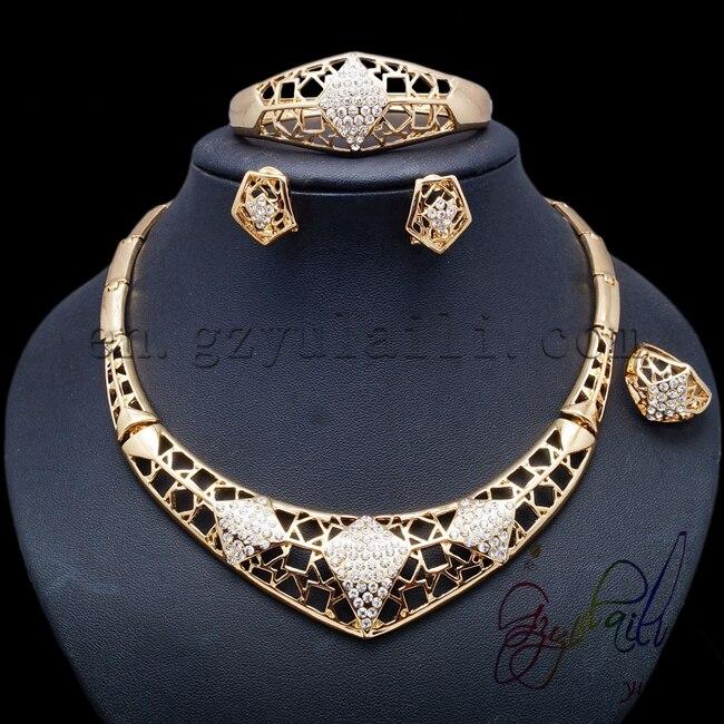 2017 offre spéciale africaine artificielle motif spécial évider ensembles de bijoux pour les femmes dernier or-