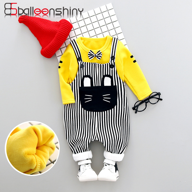 BalleenShiny Baby Boy Girl Clothing 2 pcs Long Sleeves Kids Cute Cartoon Cat Striped Suspenders Cotton Suits British Style
