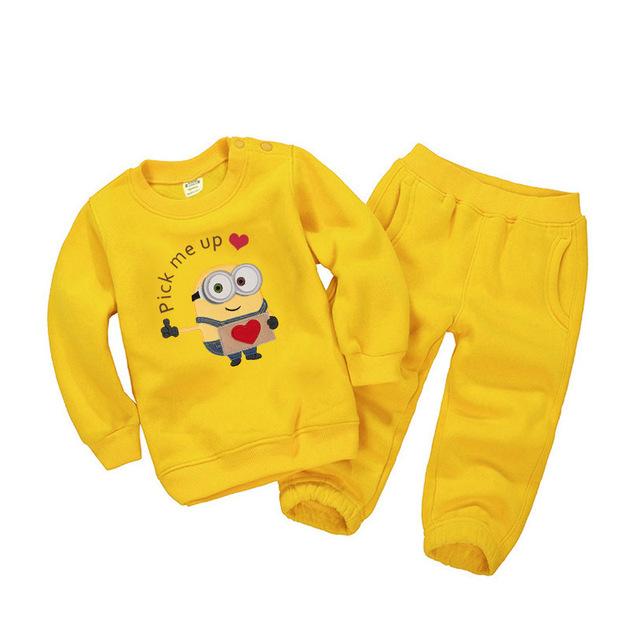 Crianças Meninos Conjunto de Roupas Meninas Meninos Da Criança Do Bebê Terno Dos Esportes Bordados Minions Camisolas Outfits + Calças Definir crianças Agasalho