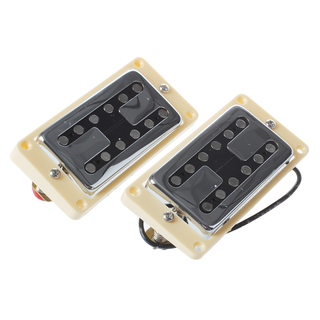 HOT 5X Chrome Neck And Bridge Humbucker Pickups w/ Cream Frame humbucker pickup for electric guitar double coil bridge and neck pickups set replacement chrome