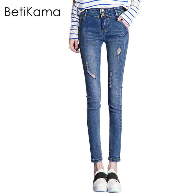 dee5f83dd5d BetiKama Fashion Ripped Jeans Woman Summer Casual Cotton Elastic Denim mom  Jeans Ladies Plus Size Distressed Skinny Jeans Mujer
