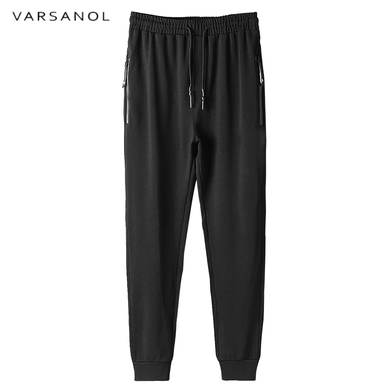 Varsanol Brand Pants Mens Soft Large Elastic Pant High Waisted Trousers Winter Solid Joggers Sweatpants Good Quality Black Color