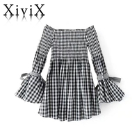 XiviX 2017 New Autumn Casual Women Clothing Dress Long Sleeved Word Lead Flapping Sleeves With Dresses Clothes For Women
