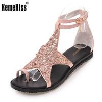 KemeKiss 크기 34-43 여성 플랫 샌들 스타 Ankel 스트랩 플립 여름 신발 여성 섹시 클럽 파티 비치 여성 Footwears