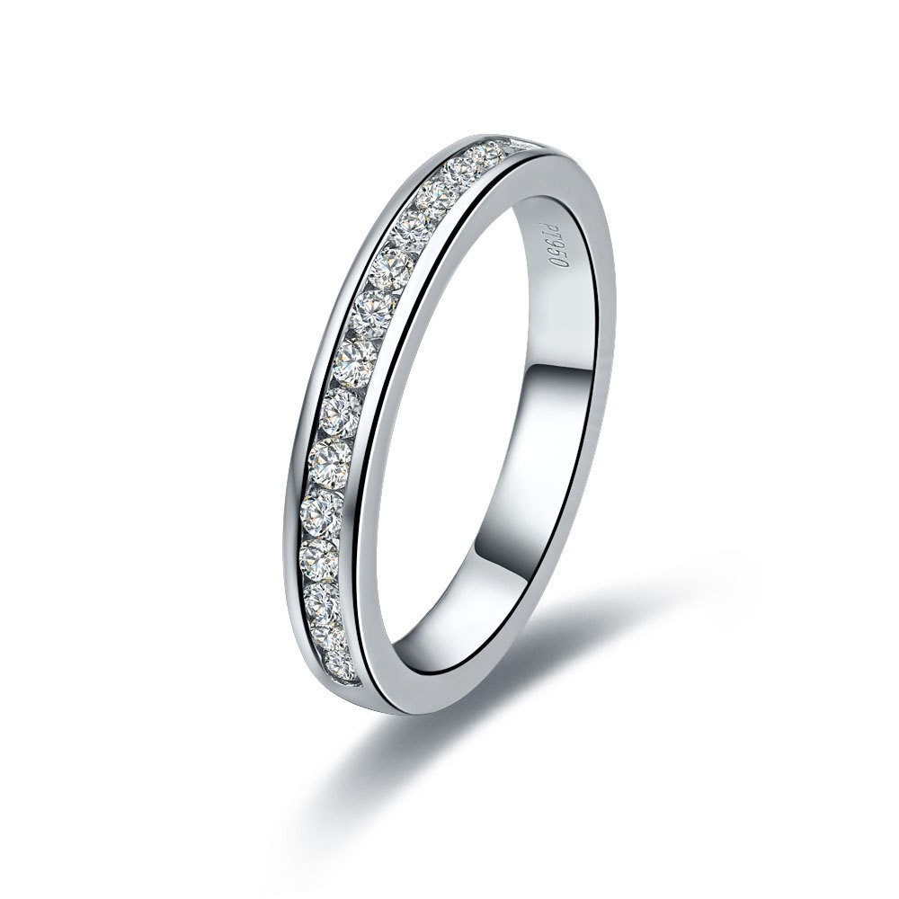 Wholesale Romantic Synthetic Stone Ring For Women Wedding Band White Gold Solid Silver