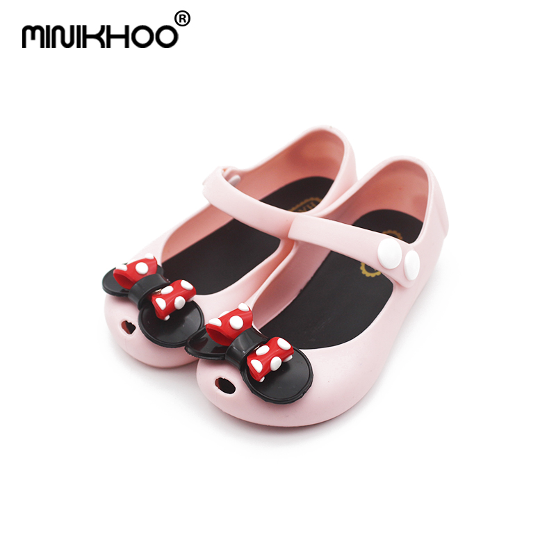 Mini Melissa 2018 New Small Bow Jelly Sandals Melissa Girl Jelly Sandals Baby Shoes Breathable Melissa Anti-skid Beach Sandals