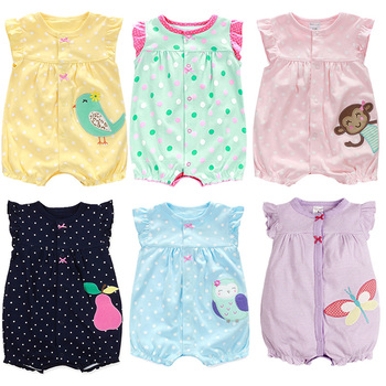 цена на 2020 Baby Rompers Summer Baby Girl Clothes Cartoon Newborn Baby Clothes Rompers Infant Toddlers Jumpsuits Baby Girl Clothing Set