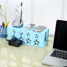 DIY plastic cable storage box desk organizer