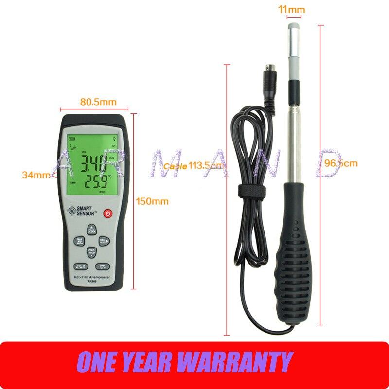 Thermo-anémomètre à fil chaud 0-30 m/s AR866 capteur intelligent anémomètre à film chaud débit d'air vitesse du vent avec USB