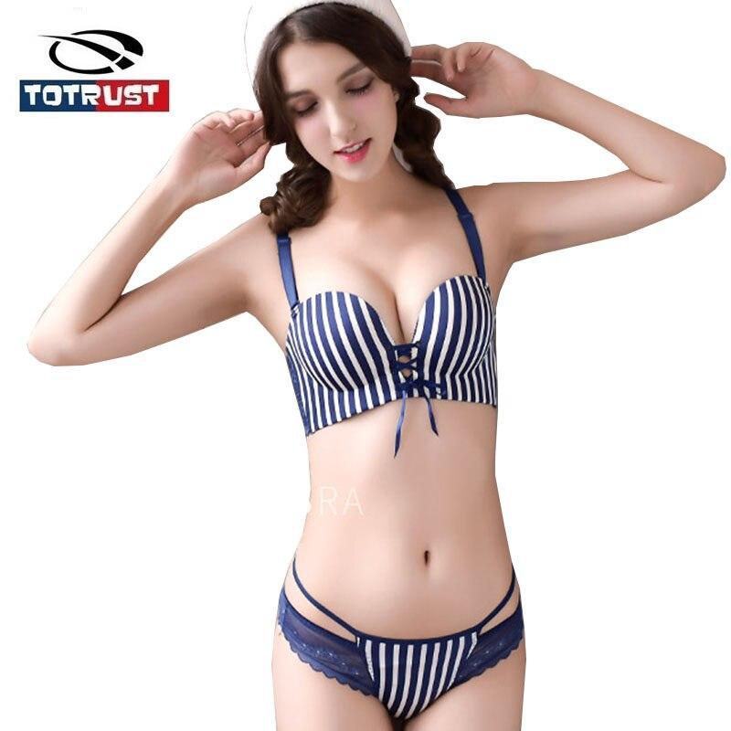 78039d52b6 Sexy Lace Bra Set Push Up 2017 Fashion Princess Slim Sexy Women Bra Set  Stripe Print
