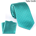Tailor Smith Small Polka Dot Necktie Hanky Set Pure Silk Luxury Mens Tie Pocket Square Formal Business Wedding Suit Dress Cavat