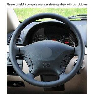 Image 3 - Hand genäht Schwarz PU Künstliche Leder Auto Lenkrad Abdeckung für Mercedes Benz W639 Viano Vito Volkswagen VW Crafter