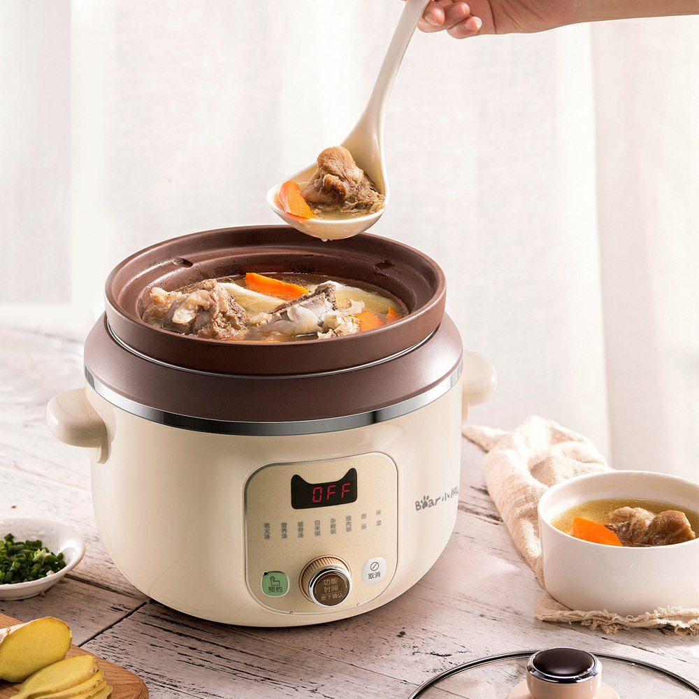 220V Automatic Household Electric Stewing Pot Multi Cooker Stewing Soup Porridge Purple Clay Material Inner EU/AU/UK Plug 220v household electric slow stewing pot machine baby porridge food maker automatic ceramic inner stewing cooker eu au uk