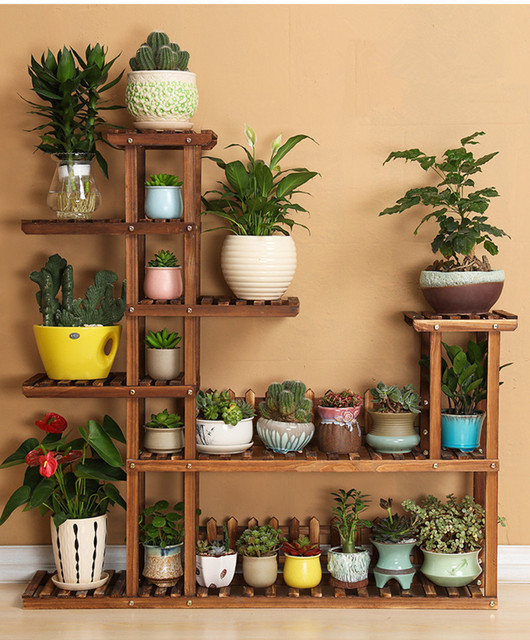 7 Tier Versatile Indoor Plant Shelf Decorative Wood Plant Stand