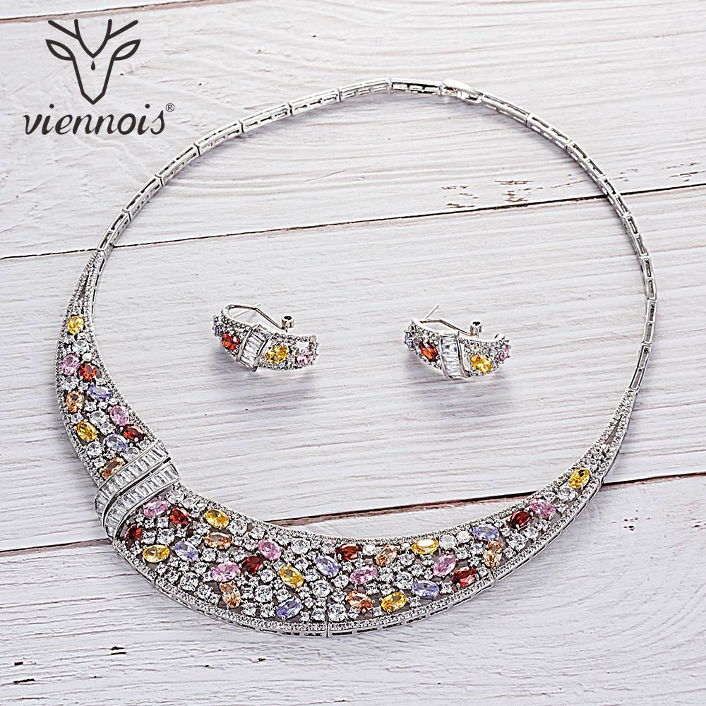 Viennois Green Bule Multicolor Red Color Necklace Set For Women Cubic Zirconia Stud Earrings Party Jewelry