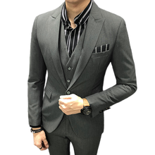 (jacket + pants vest) 2018 new Mens Solid color Business Casual Suit Three-piece Tuxedos Groomsmen Male Slim