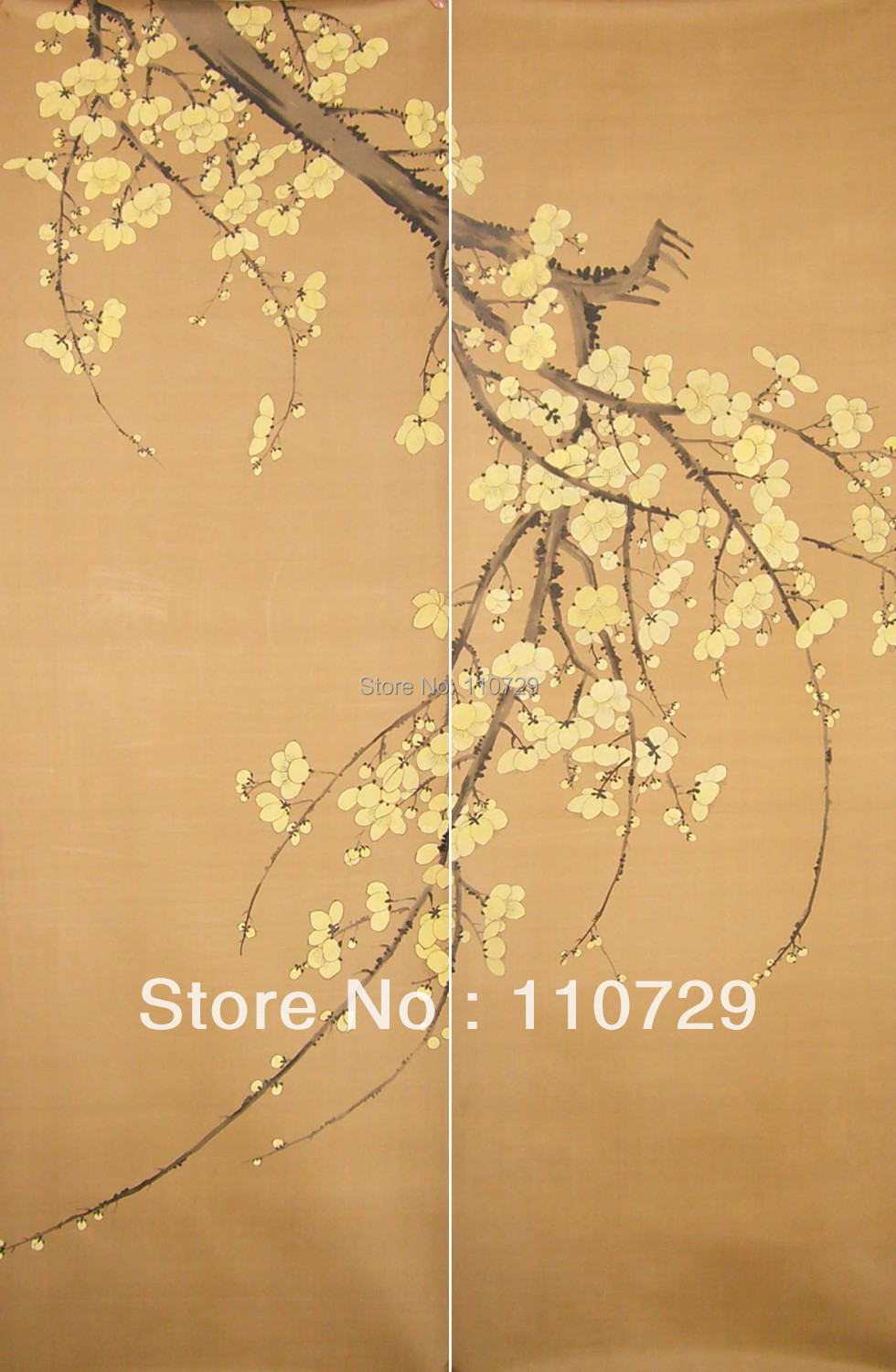 Home Decoration material Hand painted silk wallpaper painting Plum Tree many pictures optional iarts aha072962 hand painted thick texture of knife painting trees oil painting red 60 x 40cm