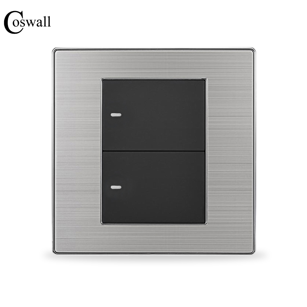 COSWALL 2 Gang Crossover Conmutador Intermediate Light Switch Push Button Wall Switch Interruptor Stainless Steel Panel mini interruptor switch button mkydt1 1p 3m power push button switch foot control switch push button switch