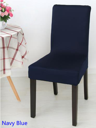 Navy Blue Colour Spandex Lycra Chair Cover Fit For Square Back Home