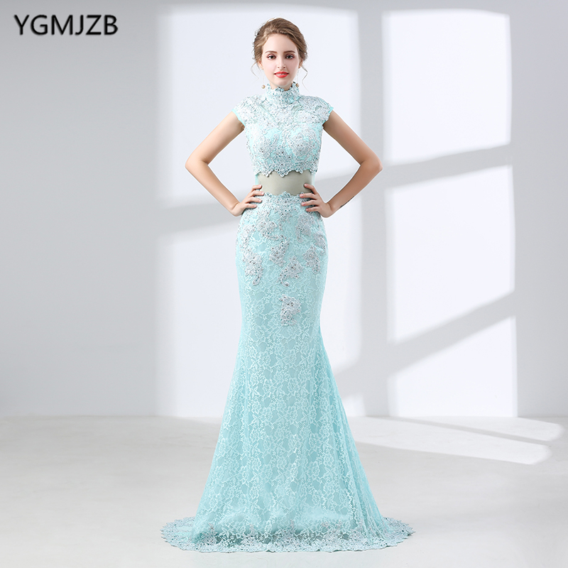 Elegant Mint Lace Evening Dresses Long 2018 Mermaid High Neck Prom ...