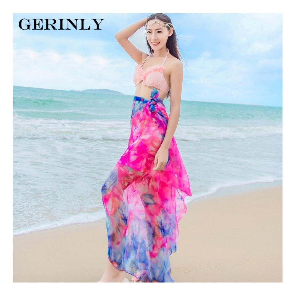Gerinly chiffon sarong verano delgada colorida imprimir pareo beach ...