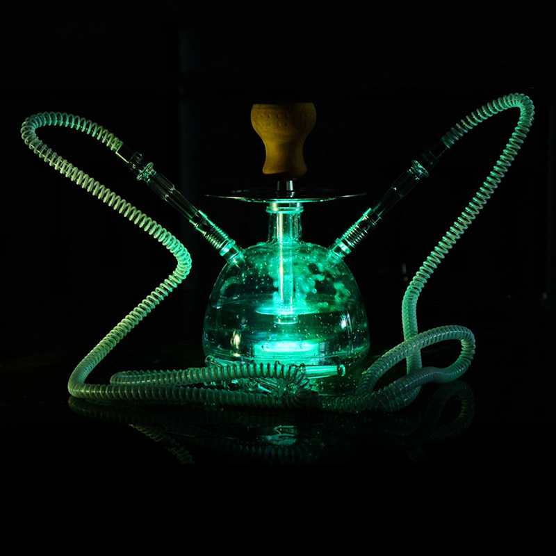 Transparent Acrylic Hookah LED Light Smoking Bottle Hookha Metal Sheesha Bowl with Lighter and hose