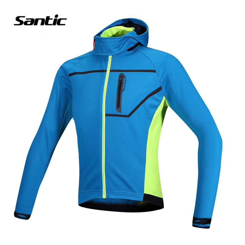 Santic Cycling Jacket Chaqueta Ciclismo Windproof Warm Fleece Thermal Hooded MTB Bike Winter Jacket Bicycle Jacket Clothing Blue santic winter men cycling jersey with hooded fleece blue warm cycling clothing thermal mtb windproof cycling wear mc01054