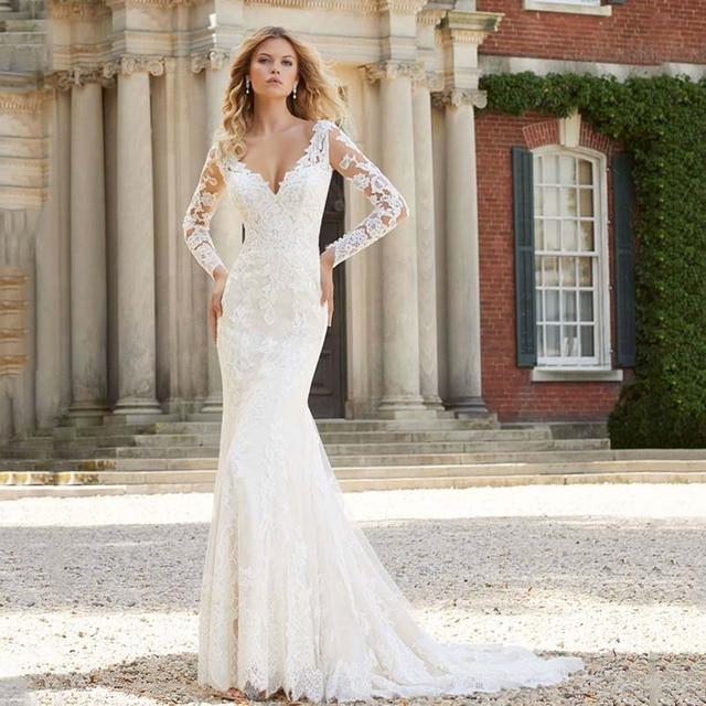 Sheath Wedding Dresses 2019: Romantic Open Back V Neckline Mermaid Sheath Wedding