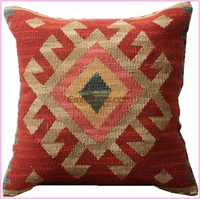 Contracted Kilim Throw Pillow Cushion Square Colorful Floral Handmade Woven Klicusyg28