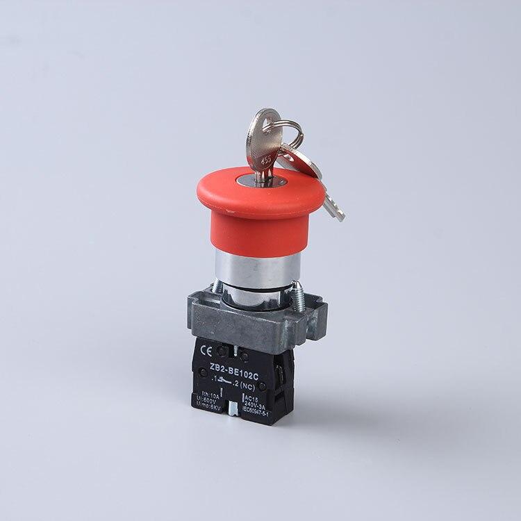 Кнопочный переключатель XB2-BS142 XB2-BS145 грибной головной ключ для выпуска, кнопочные переключатели - Цвет: Черный